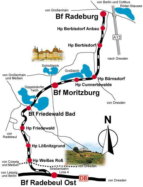 レースニッツグルント鉄道の路線図