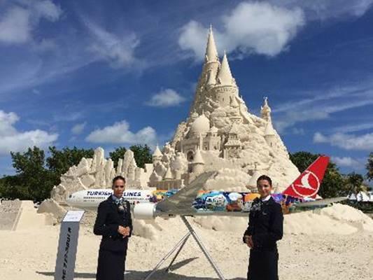 ターキッシュエアラインズ、巨大な砂の城でギネスに挑戦